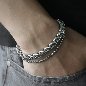 Unique Men's Bracelet Double Chain Bracelet Silver Stainless Steel Wheat Box Chain Link Bracelets Male Jewelry Dropshipping DB75