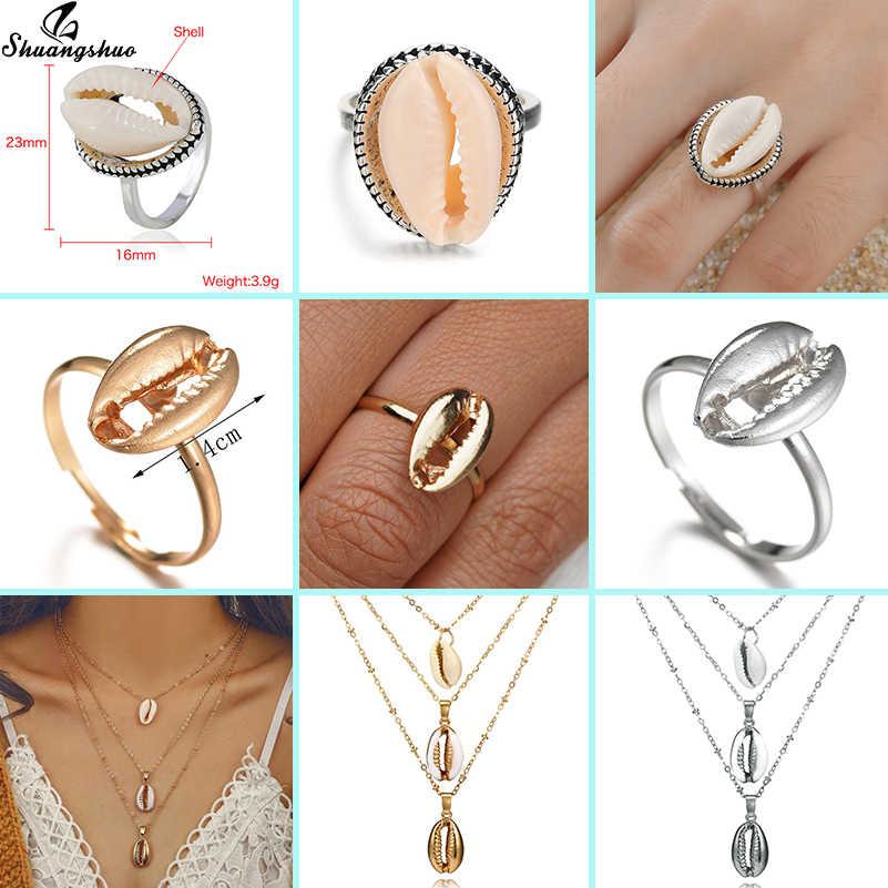 Shuangshuo Boho Seashell Rings Natural Shell Finger Ring for Women Cowrie Midi Finger Ring Charm Jewelry Gift Anel mujer