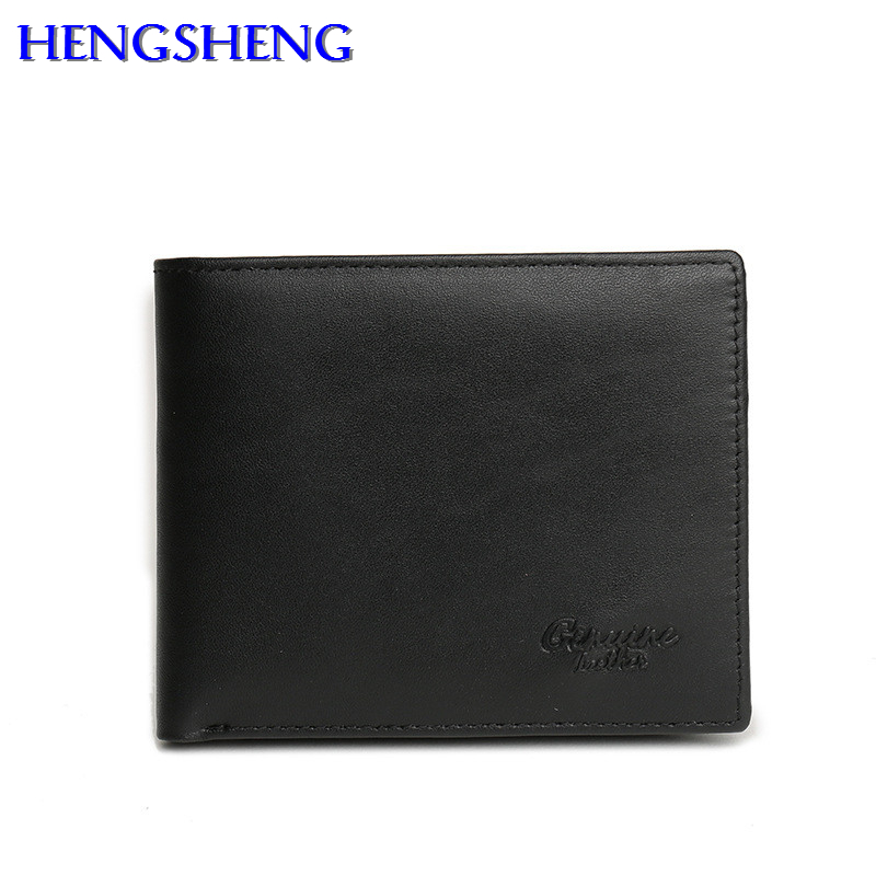 HENGSHENG cow leather men wallet with quality genuine leather short men wallet for fashion business men cross wallet gothic skull cross rivet cow leather double fold wallet brown