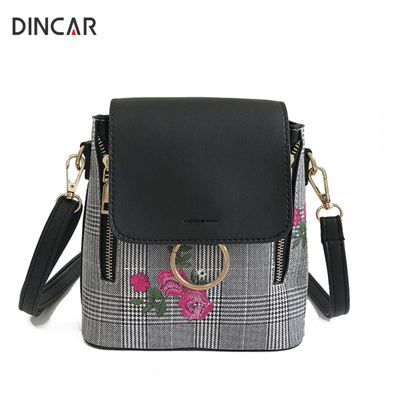 DINCAR Embroidery Floral Women Backpack Pu Leather Backpack For Teenager Girls Zipper Round Ring Schoolbag Plaid Bagpack Mochila