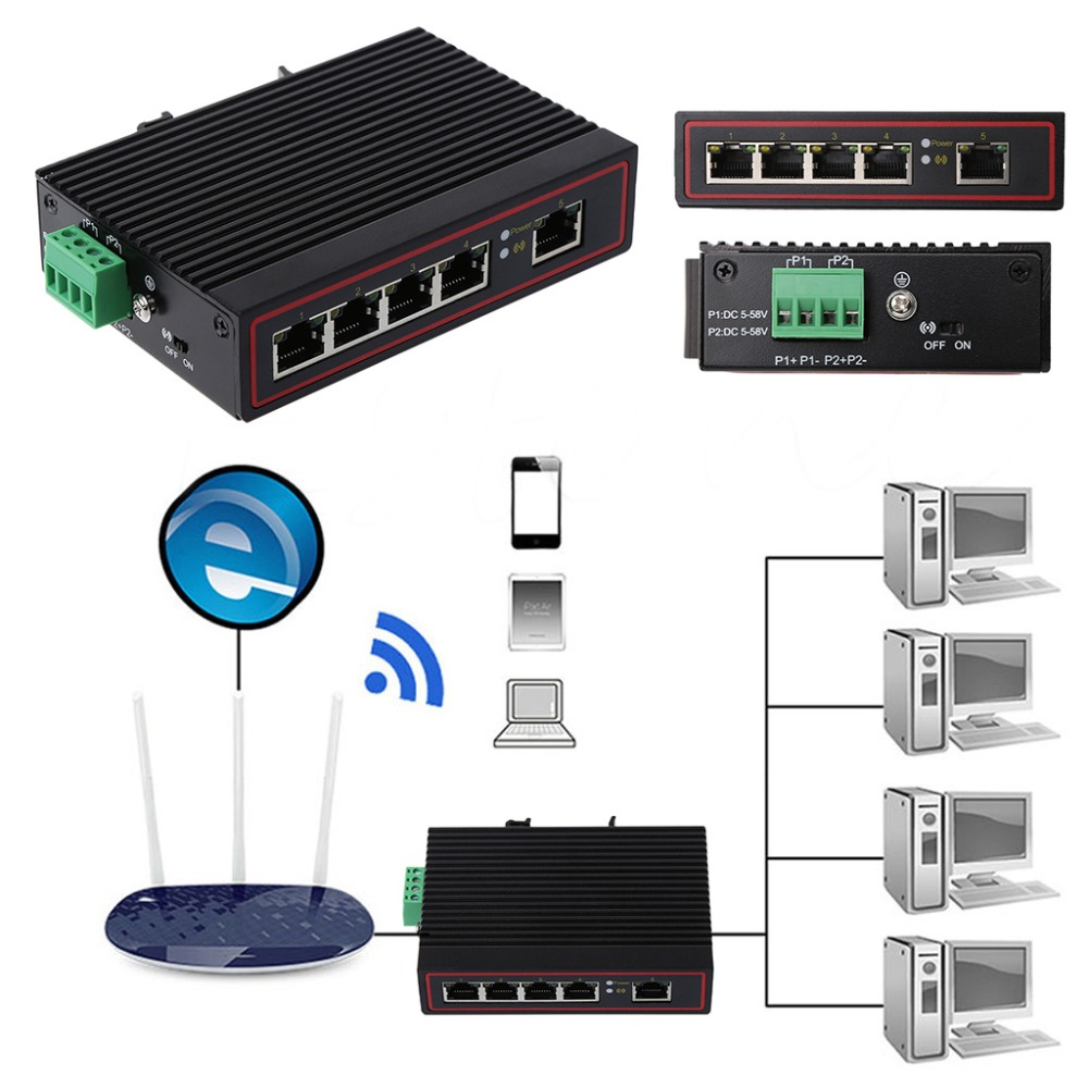 5Port Industrial Ethernet Network Switch 10/100m Signal Strengthen DIN Rail Type alloyseed 8 ports industrial ethernet switch 10 100mbps signal strengthen din rail type network switcher