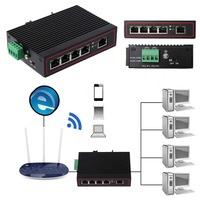 5Port Industrial Ethernet Network Switch 10/100m Signal Strengthen DIN Rail Type