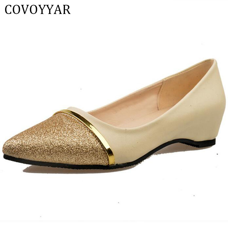 2018 Elegant Glitter Women Shoes Loafers Spring Summer Pointed Toe Low Wedge Lady Flat Gloden Shoes Slip On Size 40 WFS261 gold sliver shoes woman for 2016 new spring glitter bling pointed toe flats women shoes for summer size plus 35 40 xwd1841