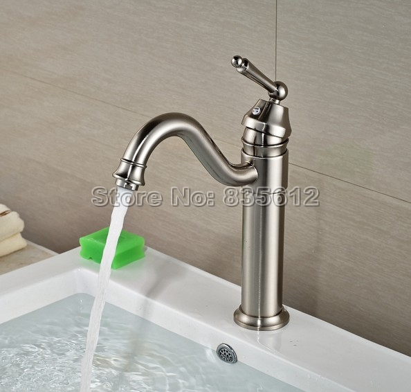 brushed nickel brass swivel spout bathroom faucet wash basin mixer