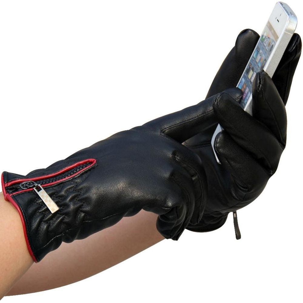 Driving gloves winter - New Women Ladies Touch Screen Winter Warm Artificial Leather Driving Gloves China Mainland