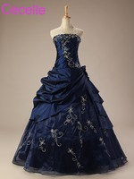 Royal Blue A Line Wedding Dresses Strapless Embroidery Vintage Taffeta Non White Bridal Gowns 1950s Wedding