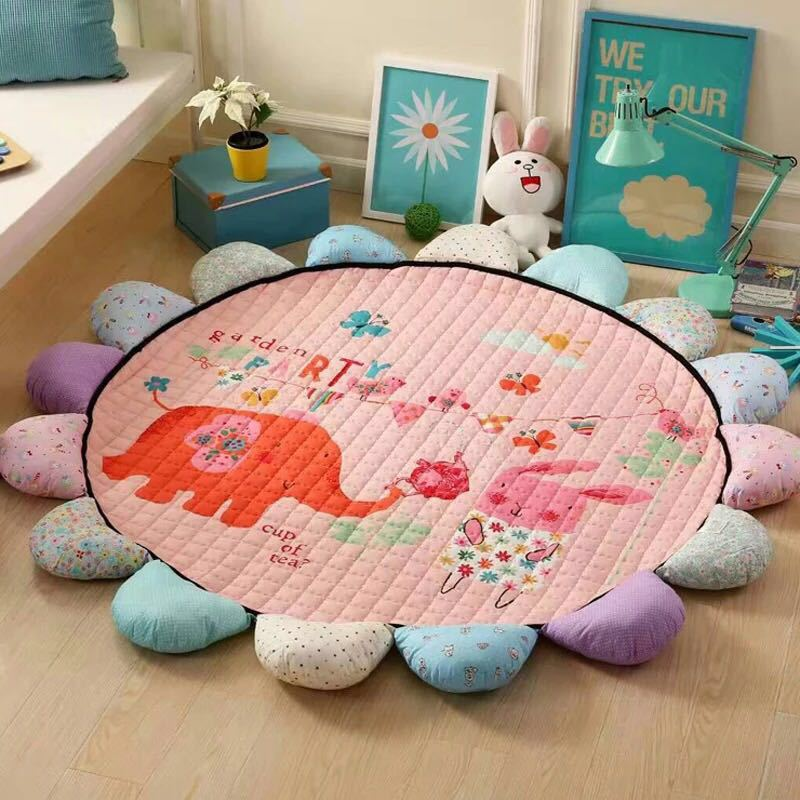 Eco-friendly Round Sun Flower Playmat Baby Activity Mat Kids Rug Baby Mat Crawling Mat Game Pad Baby Gym  Baby Activity Gym