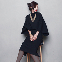 2018 Autumn Winter Fashion High Collar Long Sleeve Vintage Office Lady Blouse Skirts Woman Suits Skirt Top 2 piece set