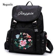 Китайский Стиль цветок вышивка рюкзаки для девочек-подростков Mochila Feminina ноутбук рюкзаки старинные Bookbags школьная сумка
