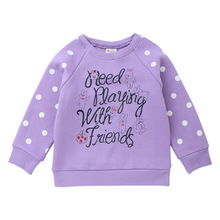 2018 Winter Girls Hoodies Dot Cotton Letter Printed Girl Sweatshirts Pink Purple Tops 2 Colors for 24M-8T Kids