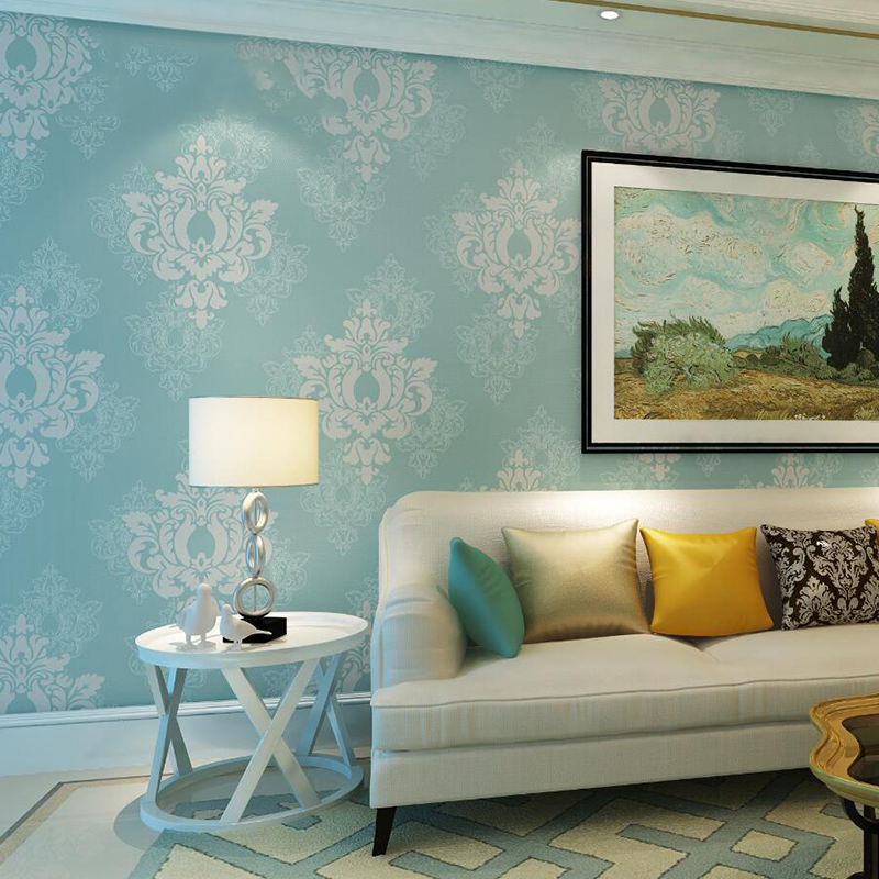 European Style 3D Embossed Damask Wallpaper Living Room Bedroom Background Wall Paper For Wall 3 D Non-Woven Home Decor 5 Colors european church square ceiling frescoes murals living room bedroom study paper 3d wallpaper