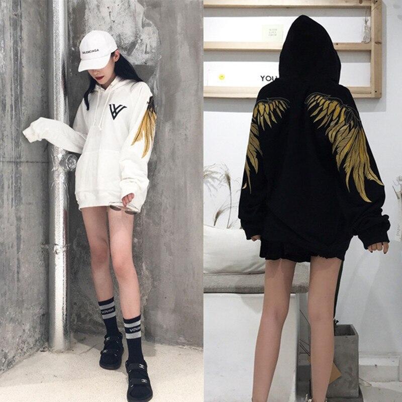 2018hip-хоп вышивка золотой нитью крылья более густой слой меха флис один обувь для мужчин и женщин любителей наборы свободные BF куртка с капюш...