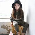 Korean Style Spring Autumn Girls Sports Suit Children Clothing Sets Kids Sportswear Fashion Girls Hoodies & Pants Twinset DQ202