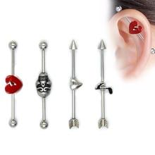 US $0.89 10% OFF|1Pc Music Skull Broken Heart Design Stainless Steel Earring Barbell Industrial Ear Cartilage Helix Stud Piercing Body Jewelry-in Body Jewelry from Jewelry & Accessories on AliExpress - 11.11_Double 11_Singles' Day