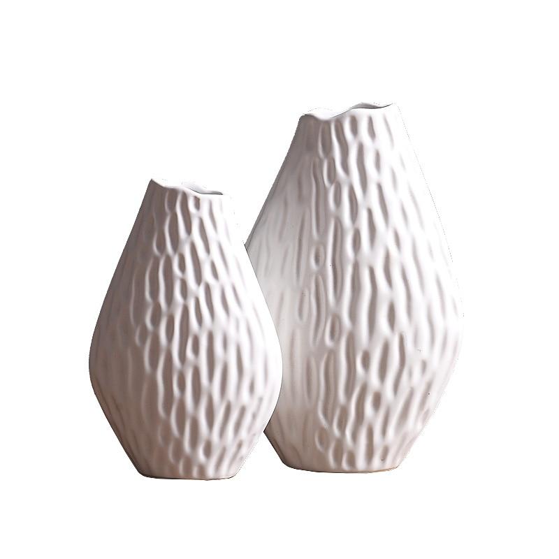Nordique amande forme design vase en céramique blanc décoration de la maison artisanat accessoires intérieur art figurines porcelaine vases à fleurs