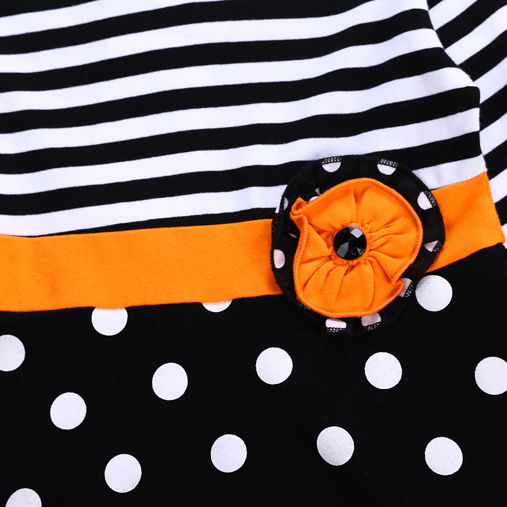 Toddler Baby Girls Striped Dot Halloween Tops Dresses Pants Costume Outfits Set