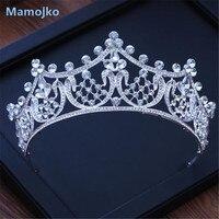 Mamojko Baroque Handmade Silver Full Rhinestone Wedding Tiaras Crown Diadem Pageant Bride Hair Accessories Bridal Jewelry