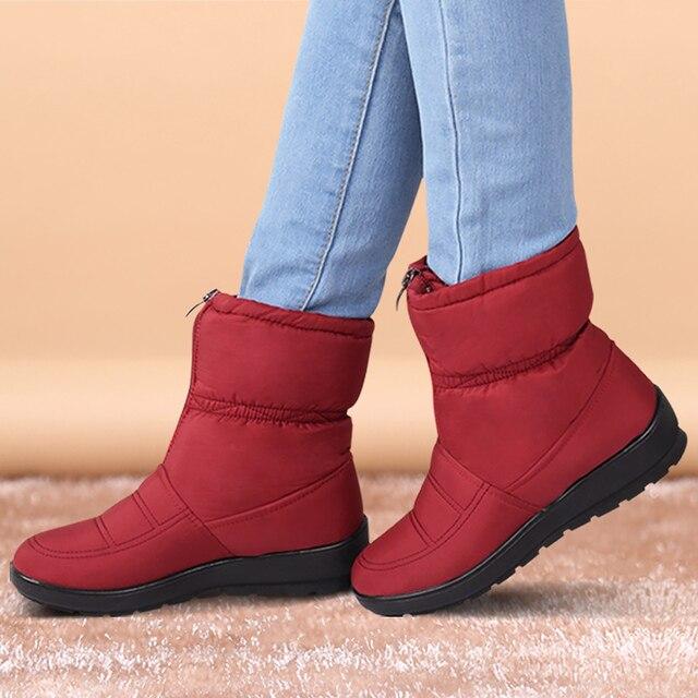 Для женщин ботильоны теплая зимняя обувь женские водонепроницаемые зимние сапоги на платформе с пряжкой плюшевые однотонные черные сапоги большие размеры 35-42
