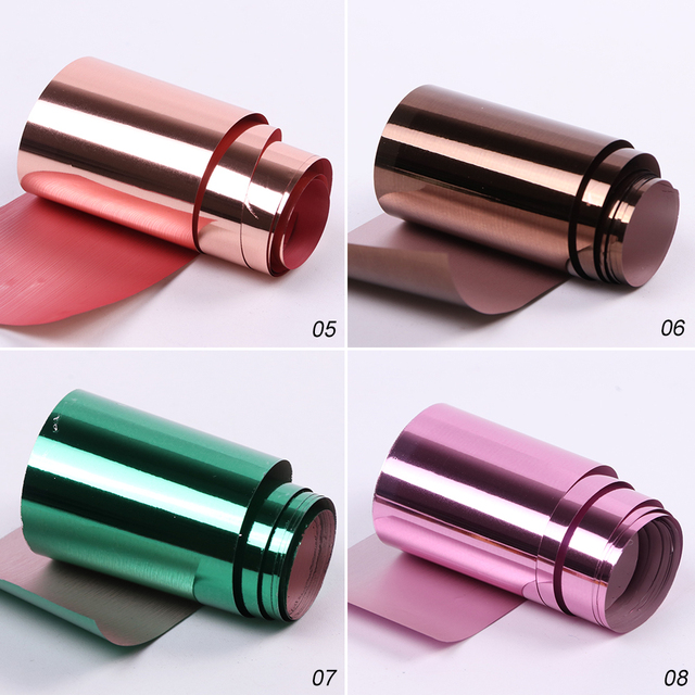 14pcs Metal Holographic Transfer Foil for Nail Art Laser Metal Effect 20*4cm Nail Foil Sticker Decal Manicure Accessories LA996