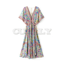 Vintage Chic women Floral print bat sleeve beach long Bohemian maxi dress Ladies V-neck Tassel Summer Boho CUERLY