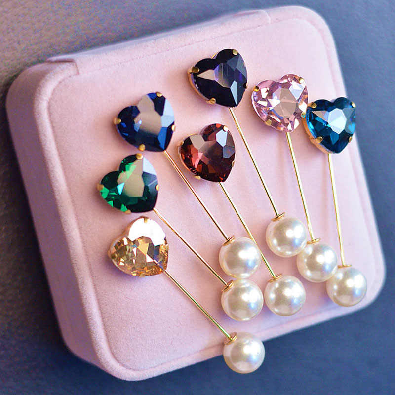 Fashion Colorful Rhinestone Simple Heart Brooch Vintage Brooch Fashion Hijab Pins and Brooches Clothes for Women Gift 2pc BR8247