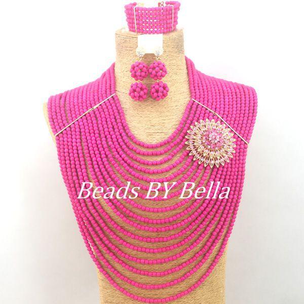 Amazing Fuchsia Fuchsia Beads Jewelry Set African Wedding Big Full Beads Set Chunky Layered Necklace Set Free Shipping ABC1222
