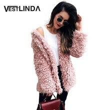 VESTLINDA Winter Grey Wool Overcoat Warm Outerwear Women Pink Faux Fur Coat Turn Down Collar Long Sleeve Cardigan Female Outwear