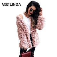 VESTLINDA Zima Szary Wełny Płaszcz Ciepłe Kurtki Różowy Faux Fur Coat Turn Down Kołnierz Z Długim Rękawem Cardigan Znosić Kobiet