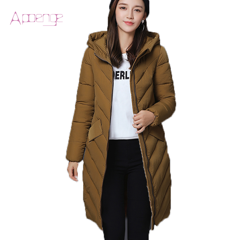 APOENG 2017 New Winter Jackets For Women's Cotton Long Coats Hooded Winter Overcoats Female Padded Parkas Size Coat LZ503 apoeng women cotton padded jackets with gloves 2017 new winter coats candy color long parkas plus size hooded coat 5xl 6xl lz456