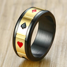 Vnox Fortune Luck Men's Spinner Rings Peace Wisdom Love Charm Play Cards Las Vegas Male Anillo Rock Accessory(China)