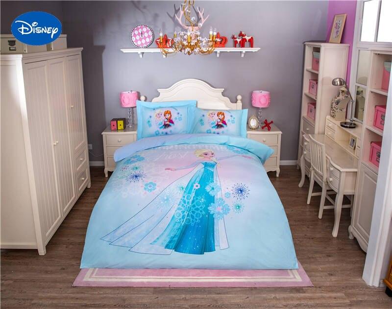 Marvelous Disney Frozen Elsa Character 3D Printed Bedding Set For Girls Bedroom Decor  Cotton Bed Sheet Duvet