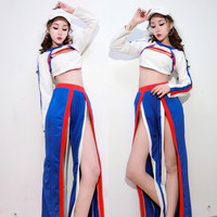 The new bar dj costumes stage outfit ds clothing Europe and the United States hip hop blue sports style hip hop split pants suit