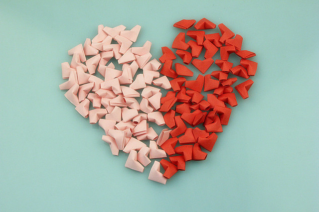 Free Shipping5 Pcs Lot2 Colors Love Heart Star Handcraft Origami Lucky