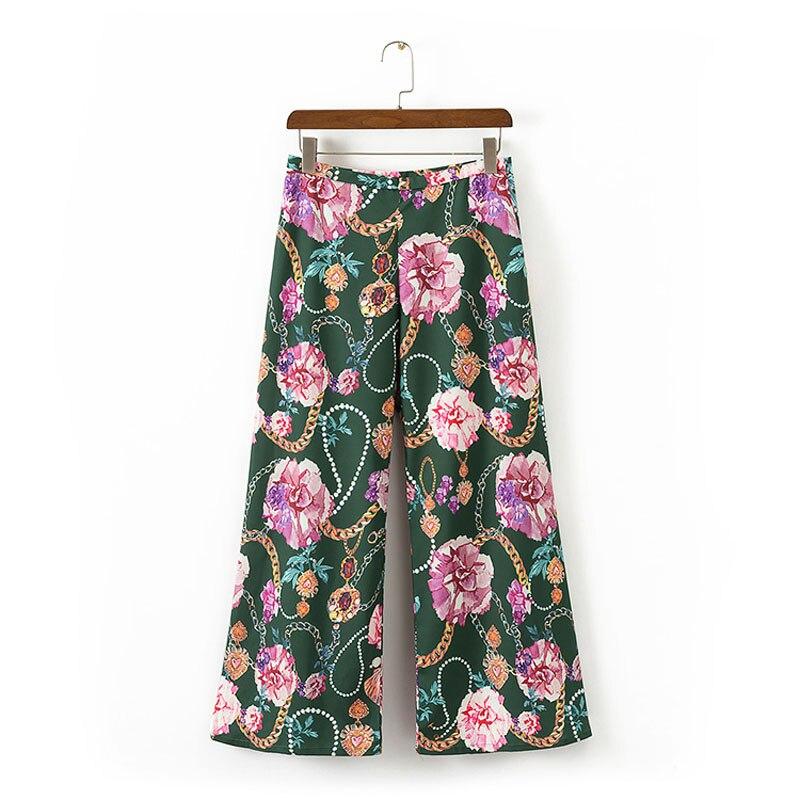 Summer women   pants   casual flowers printed   wide     leg     pants