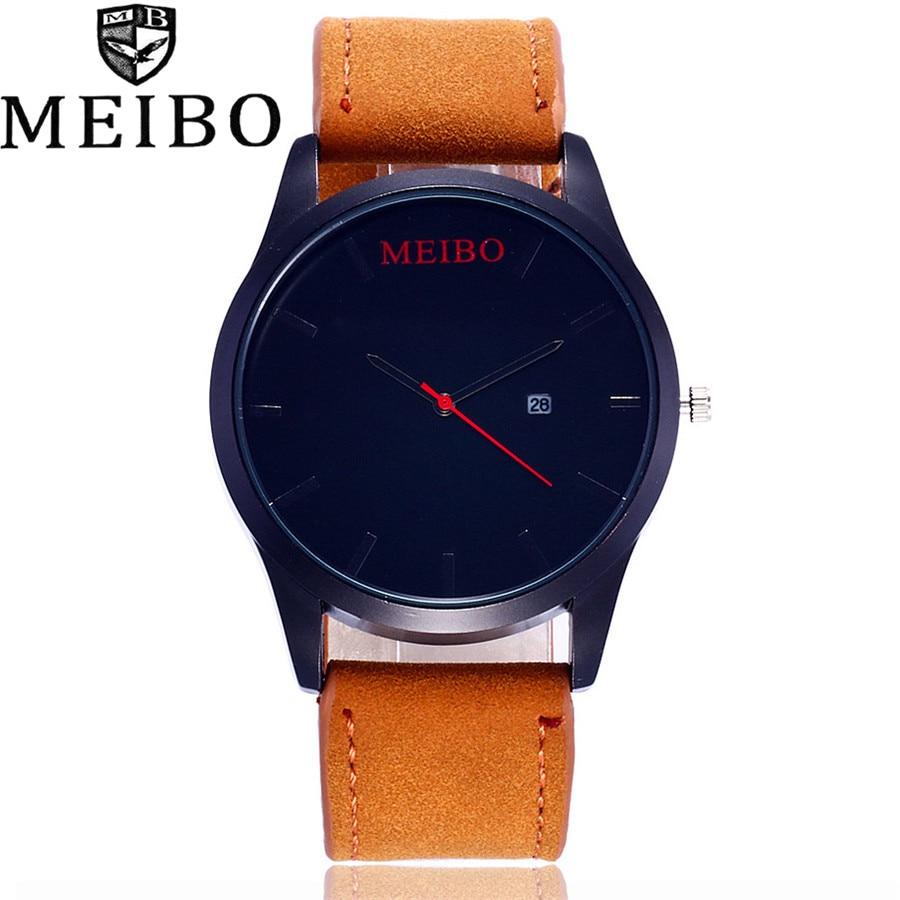 MEIBO Brand Top Men Casual Simple Quartz Sport Army Military Watch Quartz Watch Wristwatch Vintage Leather Strap Watches MB05 meibo brand top men casual simple quartz