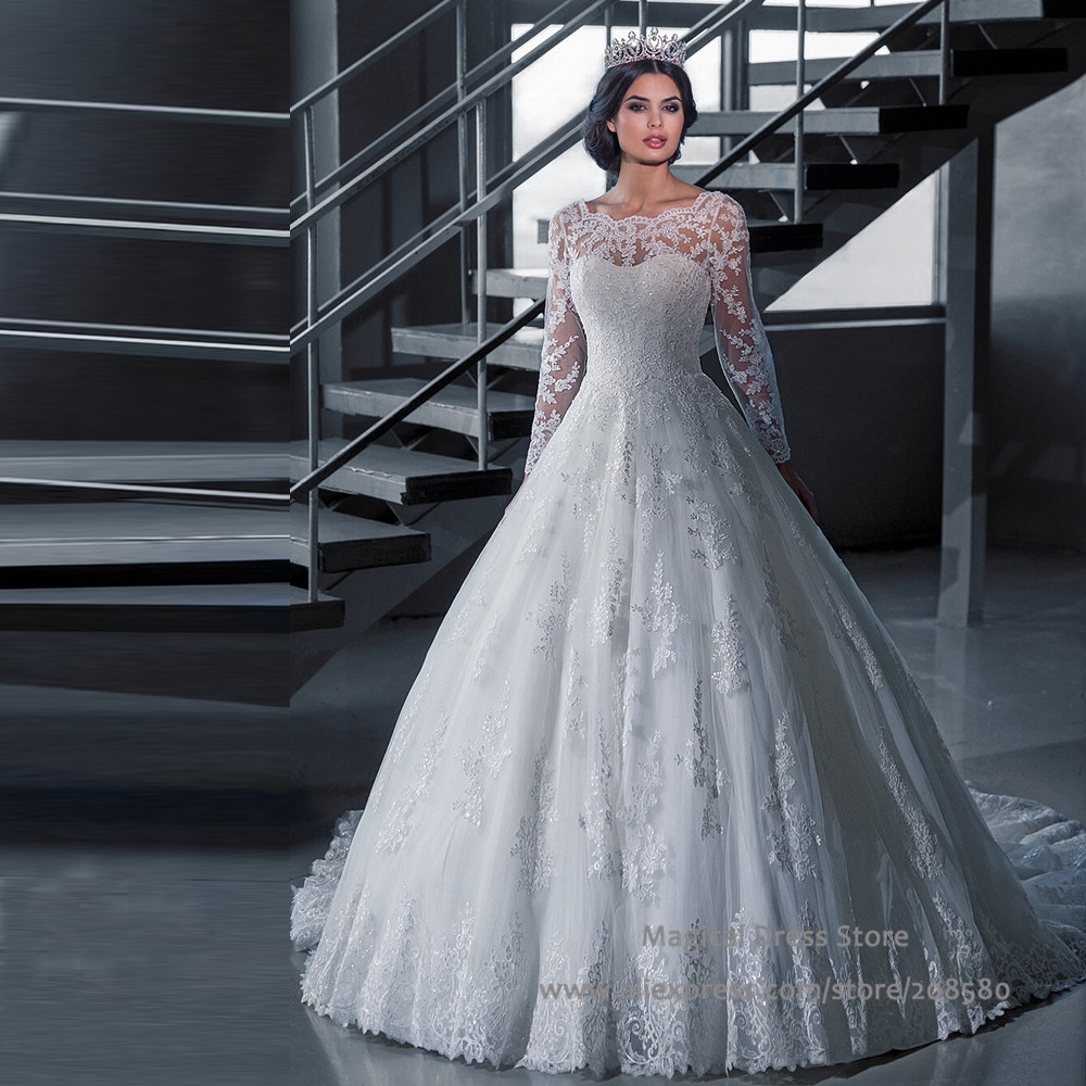 chinese long sleeve wedding dress lace scoop bridal gowns princess style appliques 2016 sheer dubai vestidos