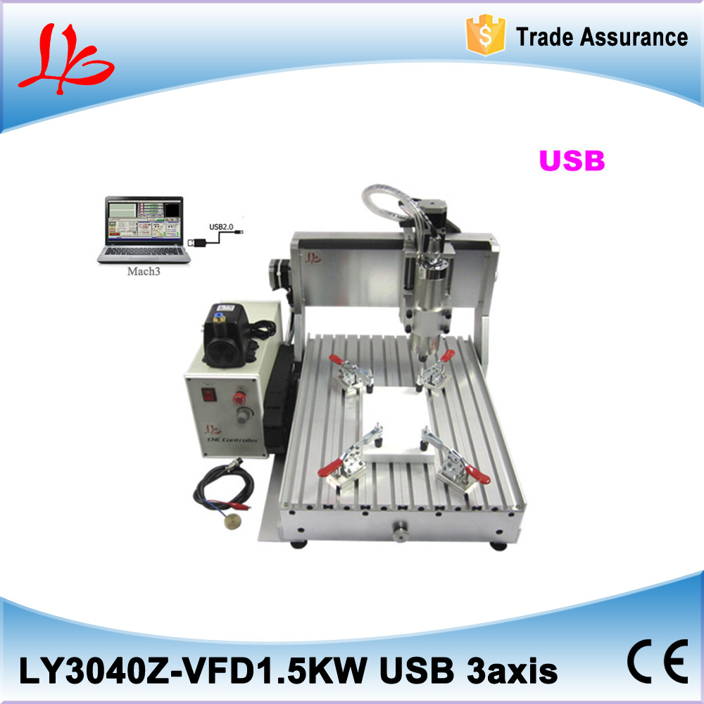 Hot selling CNC router machine 3040Z-VFD1.5KW USB 3axis cnc drilling and milling machine cnc wood carver with USB port cnc router wood milling machine cnc 3040z vfd800w 3axis usb for wood working with ball screw