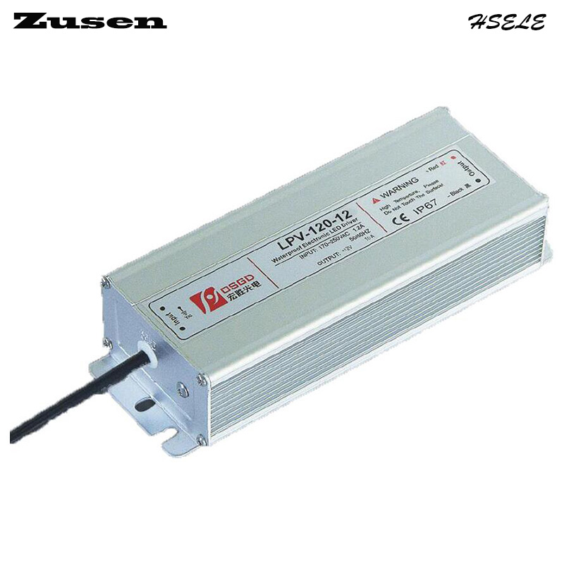 Zusen LPV-120W-24V 5A  LED waterproof Switch Power supply 220VAC to 24VDC meanwell 24v 60w ul certificated lpv series ip67 waterproof power supply 90 264v ac to 24v dc