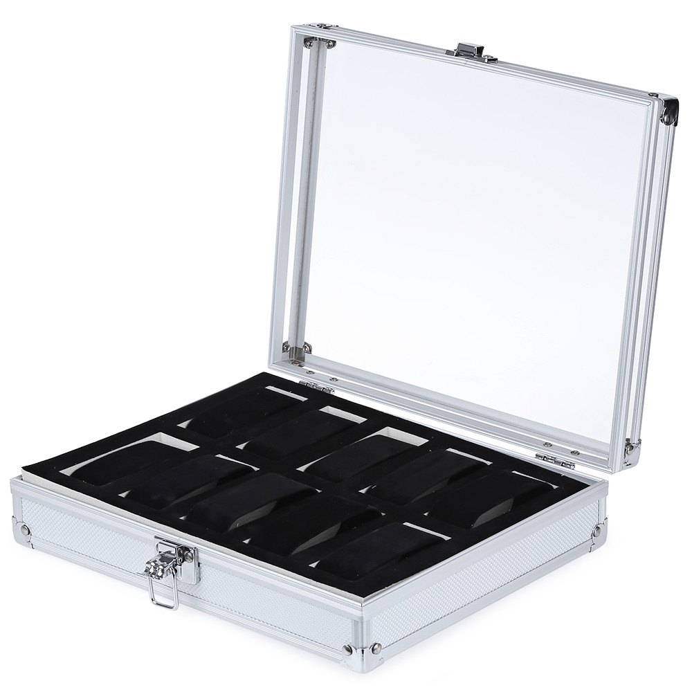 10 Grids Stainless Steel Watch Case Transparent Glass Cover Box Organizer