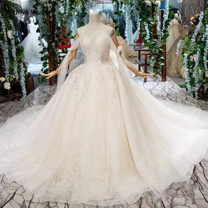 HTL396 Special Sexy Wedding Dress With Train Off Shoulder Boat Neck Bridal Dress Gown Free Shipping Vestido De Noiva Princesa