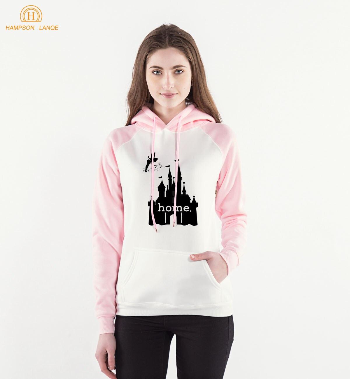 Home House Castle Print Kawaii Pink Hoodies 2018 Spring Autumn Womens Sweatshirts Kpop Style Raglan Hoodie Harajuku Sweatshirt
