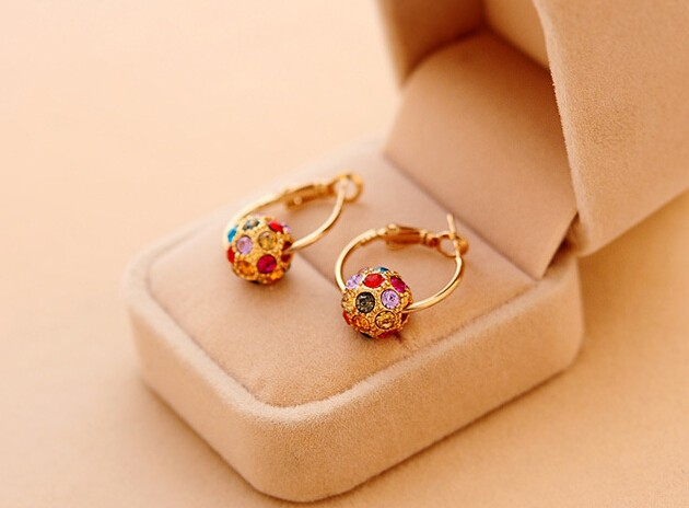 Gold Plated Rhinestone Crystal Beads Multicolor Round Ball Hoop