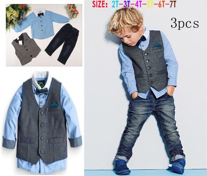 ccd59fad5 Niños guapos ropa de caballero del muchacho 4 unids juego niños ropa  camisas de manga larga + chaleco + Pantalones + Bow tie t5130 en Sistemas  de la ropa de ...