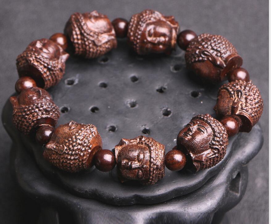 Bracelet Men Wood Buddha Head
