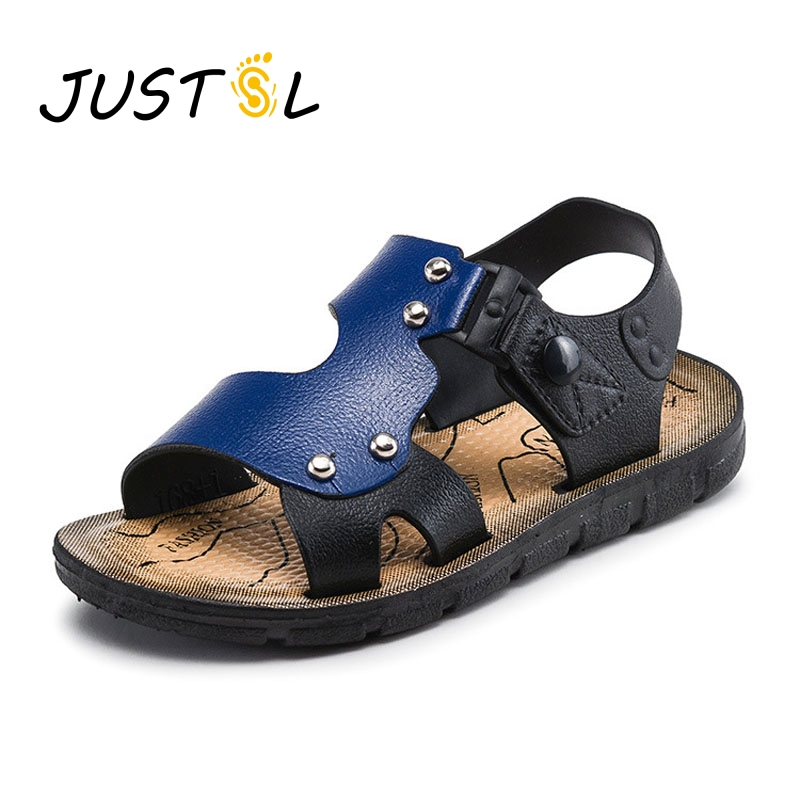 JUSTSL Summer children s fashion sandals boys beach shoes buckle baby sandals outdoor kids non - slip flat shoes size23-35