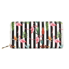 Women's Stylish Long Leather Wallet with Flamingo Themed Pattern