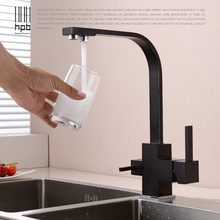 HPB Brass Chrome Brushed Polished Two Functions Kitchen Sink Mixer Filter Faucet 2 Holes Drinking Water Tap torneira HP4301