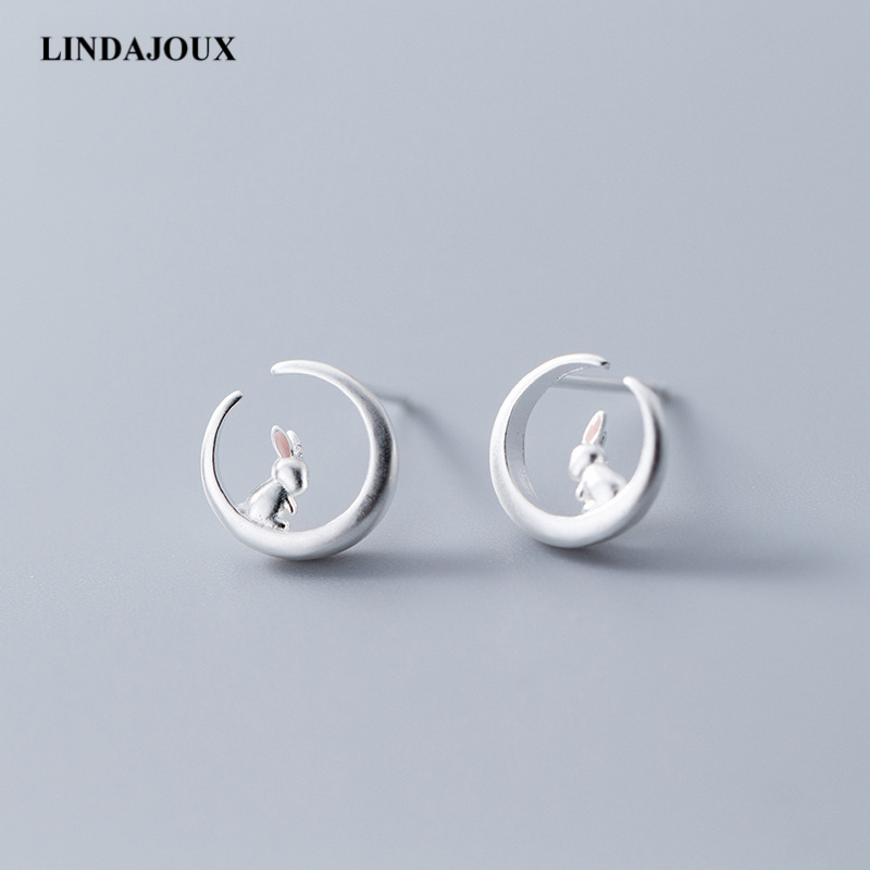 Detail Feedback Questions about Romantic 925 Sterling Silver Stud Earrings  For Women Rabbit Sitting on Moon sterling silver jewelry Small Studs Earring  on ...
