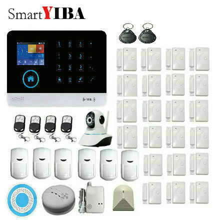 Smart YIBA Wireless WiFi GMS GPRS RFID Home Security Alarm System With Automatic Dial+ Glass Debeis alarm, Smoke Detector 433mhz g90b intruder home alarm wireless security gprs gsm wifi alarm system with pir motion sensor wireless smoke detector