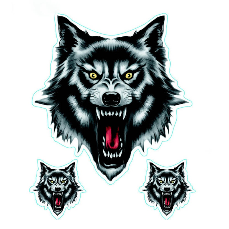 Wolf Head Decals Skull Head Fire Flame Funny Self-adhesive Sticker For Motorcycle Car Door Stickers Truck Helmet Decor